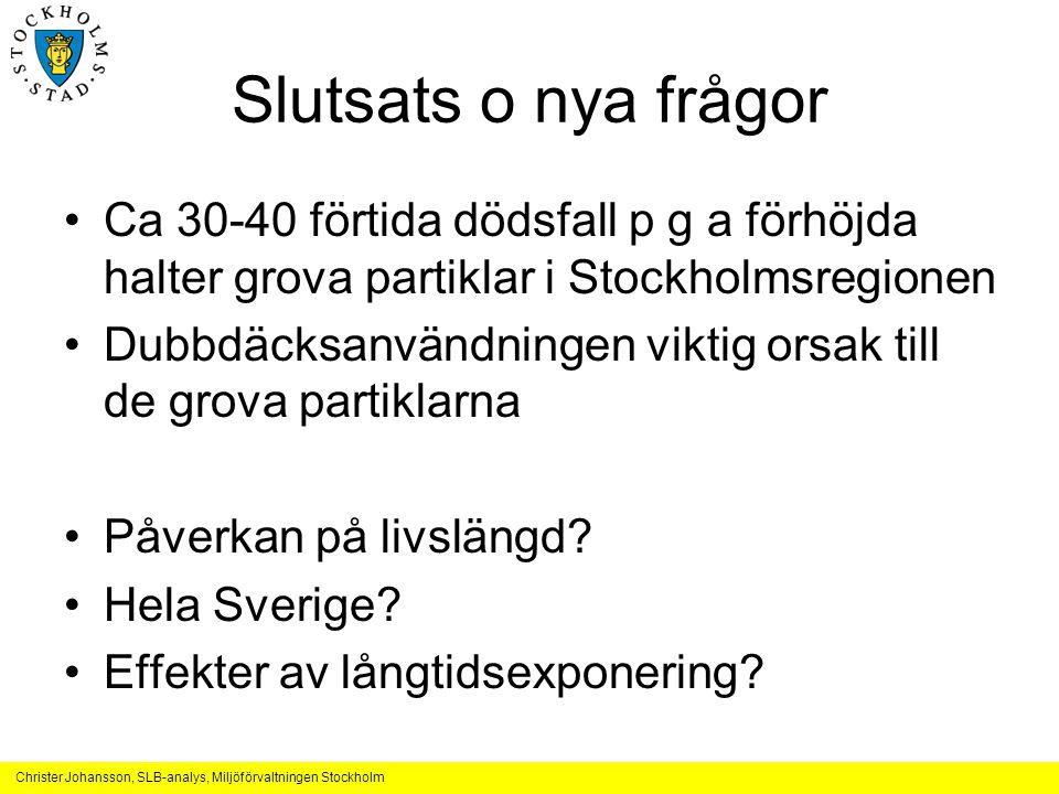 Slutsats o nya frågor Ca 30-40 förtida dödsfall p g a förhöjda halter grova partiklar i Stockholmsregionen.