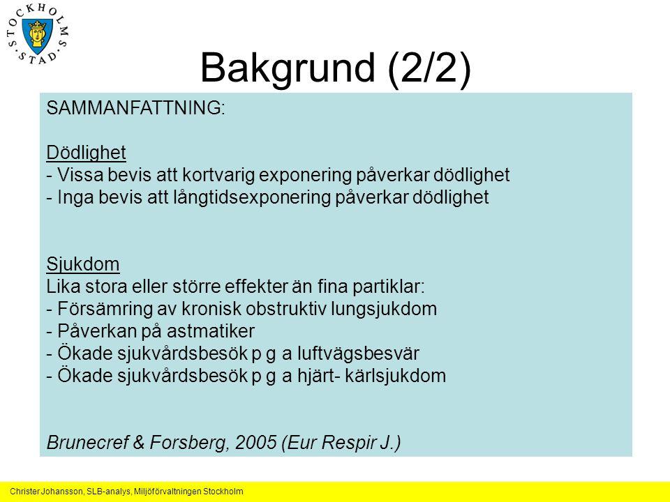 Bakgrund (2/2) SAMMANFATTNING: Effekter av vägdamm i Finland (våren)