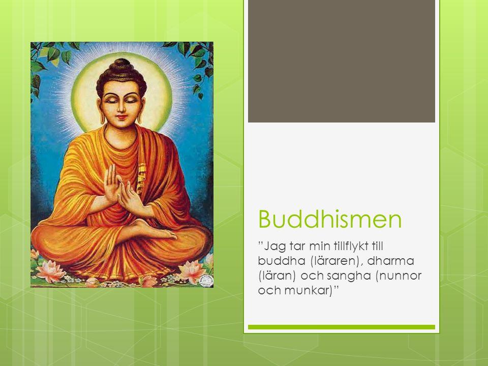 Buddhismen Jag tar min tillflykt till buddha (läraren), dharma (läran) och sangha (nunnor och munkar)