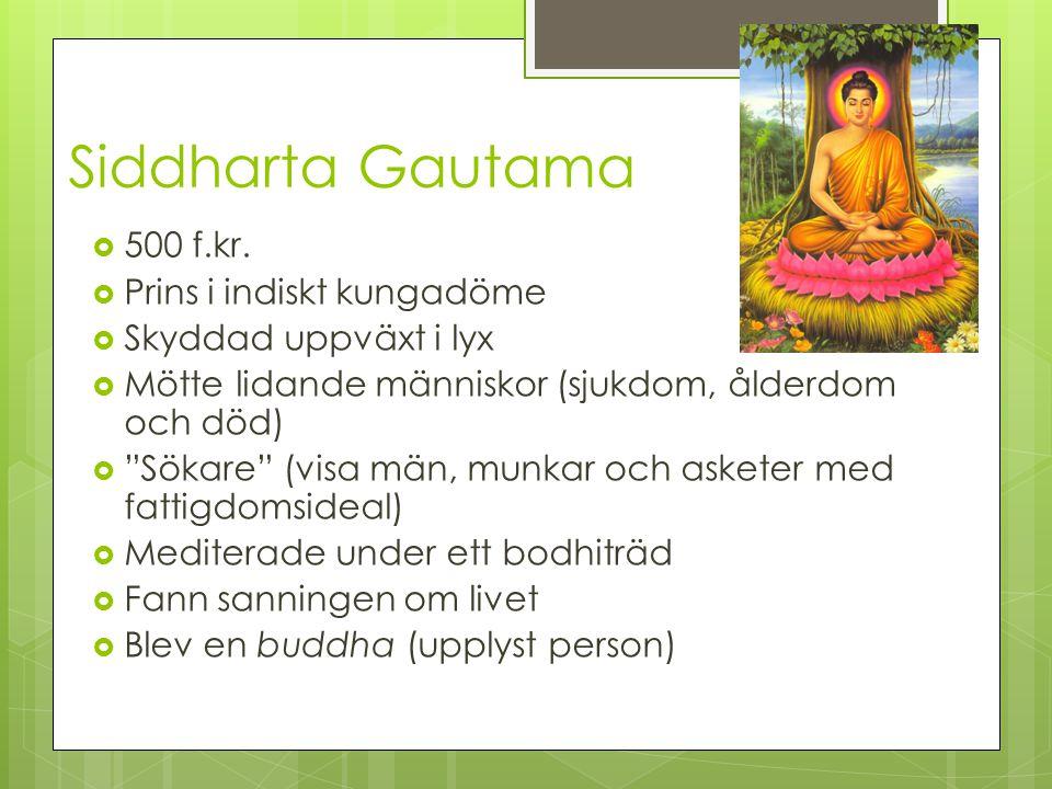 Siddharta Gautama 500 f.kr. Prins i indiskt kungadöme