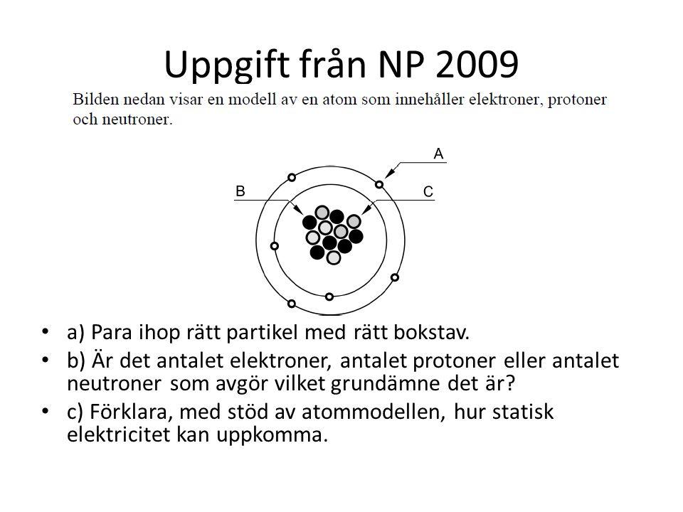 Uppgift från NP 2009 a) Para ihop rätt partikel med rätt bokstav.