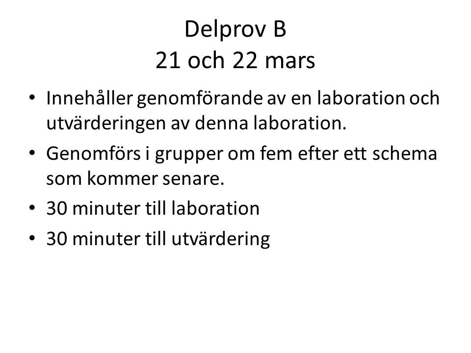 Delprov B 21 och 22 mars Innehåller genomförande av en laboration och utvärderingen av denna laboration.