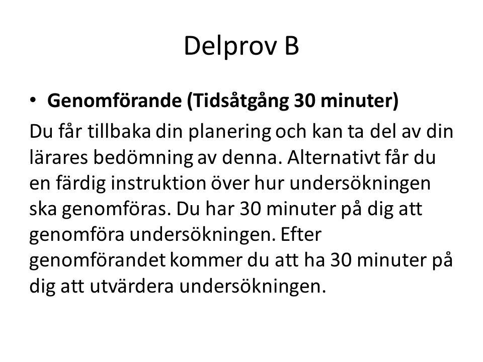 Delprov B Genomförande (Tidsåtgång 30 minuter)