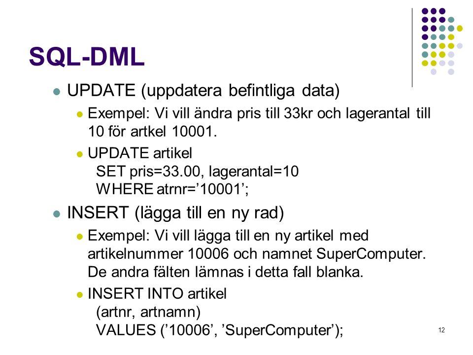 SQL-DML UPDATE (uppdatera befintliga data)