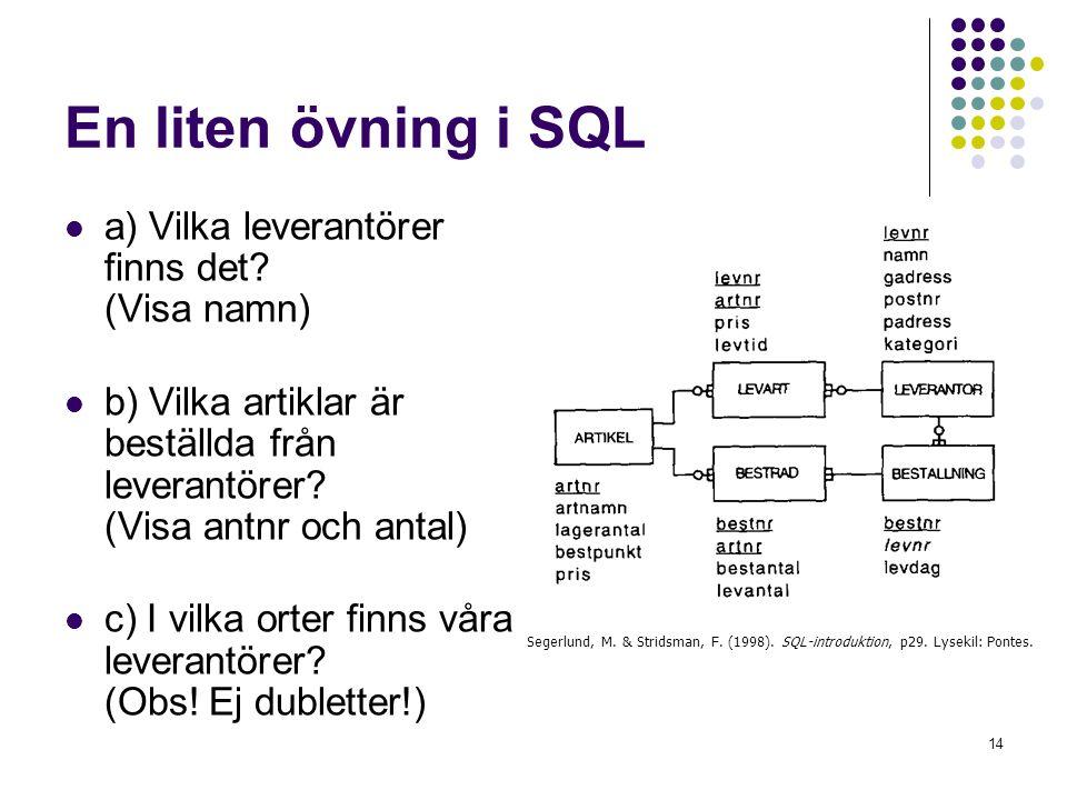 En liten övning i SQL a) Vilka leverantörer finns det (Visa namn)