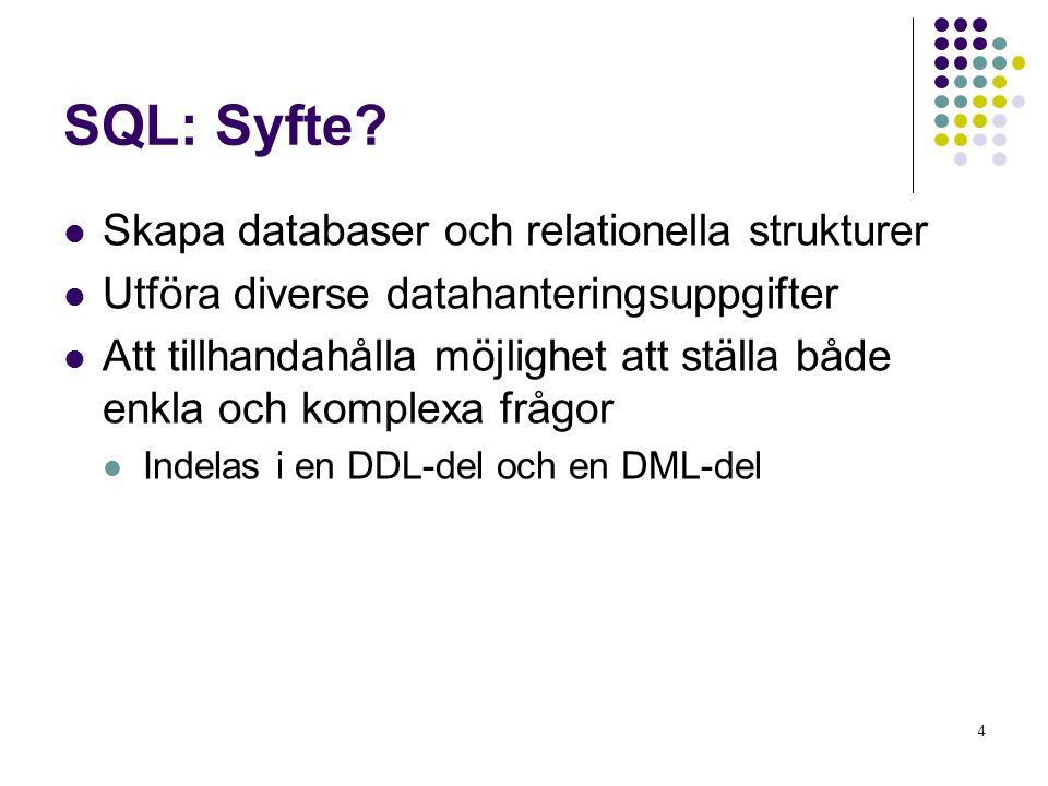 SQL: Syfte Skapa databaser och relationella strukturer