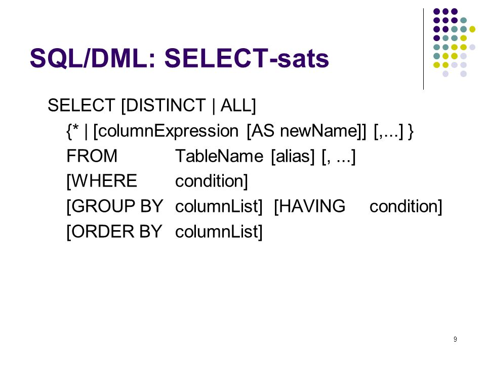 SQL/DML: SELECT-sats SELECT [DISTINCT | ALL]