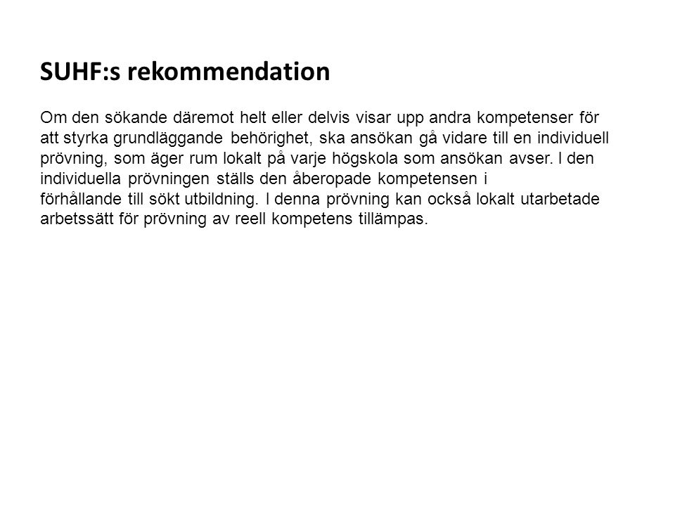 SUHF:s rekommendation
