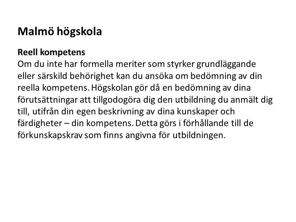 Malmö högskola Reell kompetens