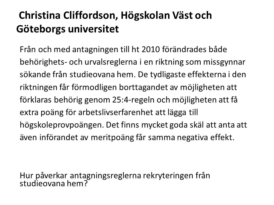 Christina Cliffordson, Högskolan Väst och Göteborgs universitet