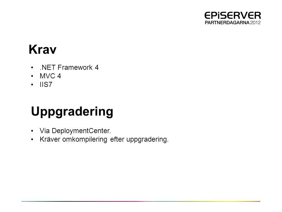 Krav Uppgradering .NET Framework 4 MVC 4 IIS7 Via DeploymentCenter.