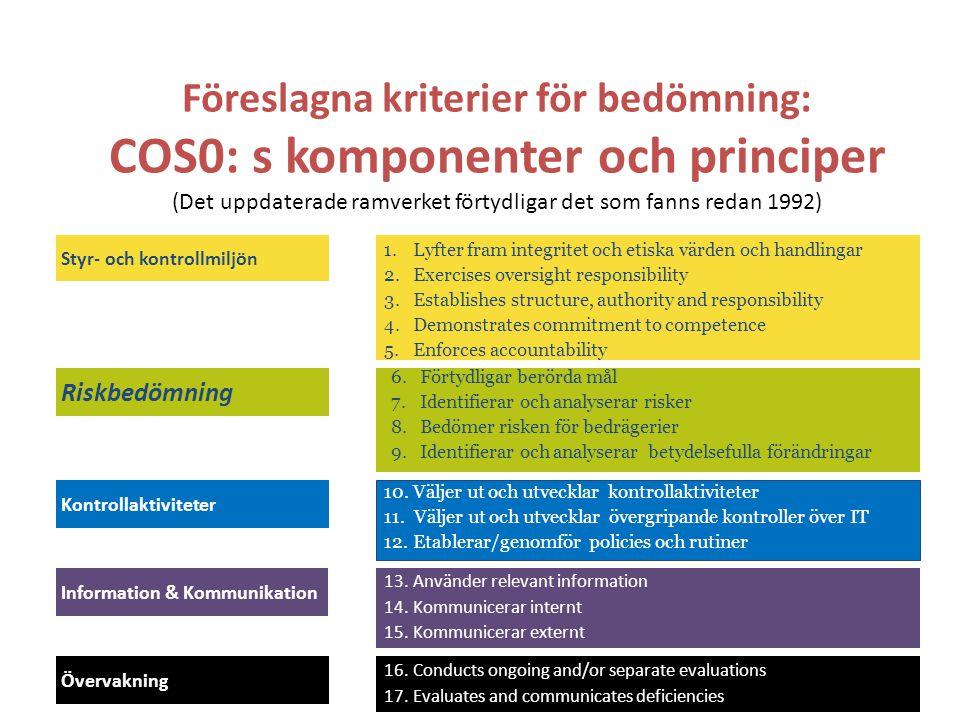 Föreslagna kriterier för bedömning: COS0: s komponenter och principer (Det uppdaterade ramverket förtydligar det som fanns redan 1992)