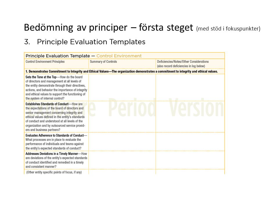Bedömning av principer – första steget (med stöd i fokuspunkter)