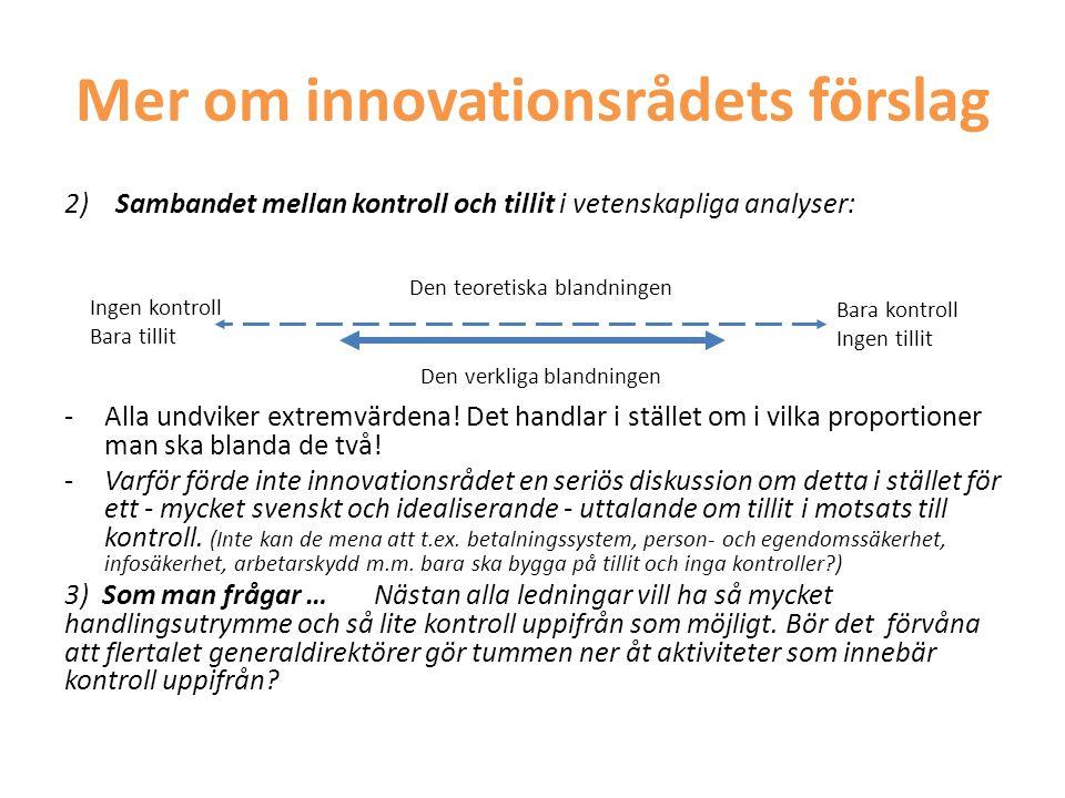 Mer om innovationsrådets förslag
