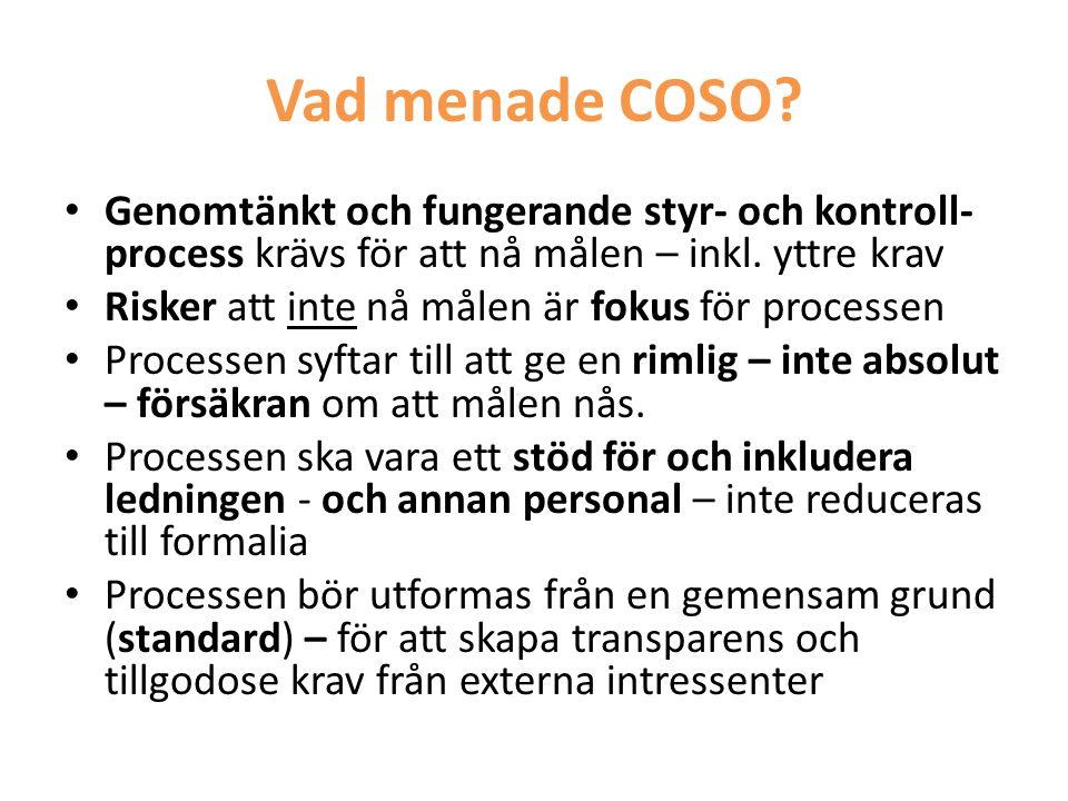 Vad menade COSO Genomtänkt och fungerande styr- och kontroll- process krävs för att nå målen – inkl. yttre krav.