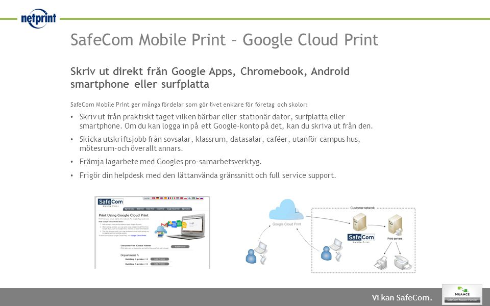 SafeCom Mobile Print – Google Cloud Print