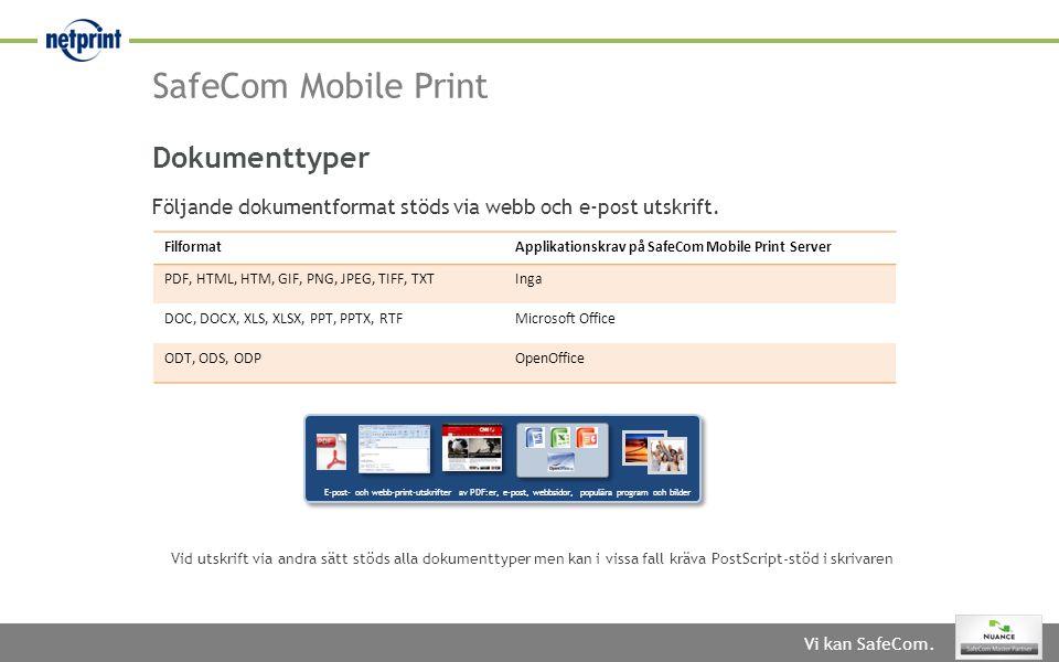 SafeCom Mobile Print Dokumenttyper