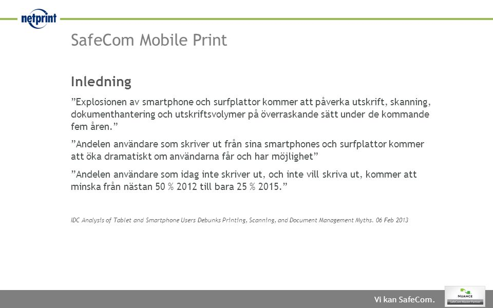 SafeCom Mobile Print Inledning