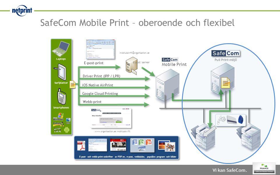 SafeCom Mobile Print – oberoende och flexibel