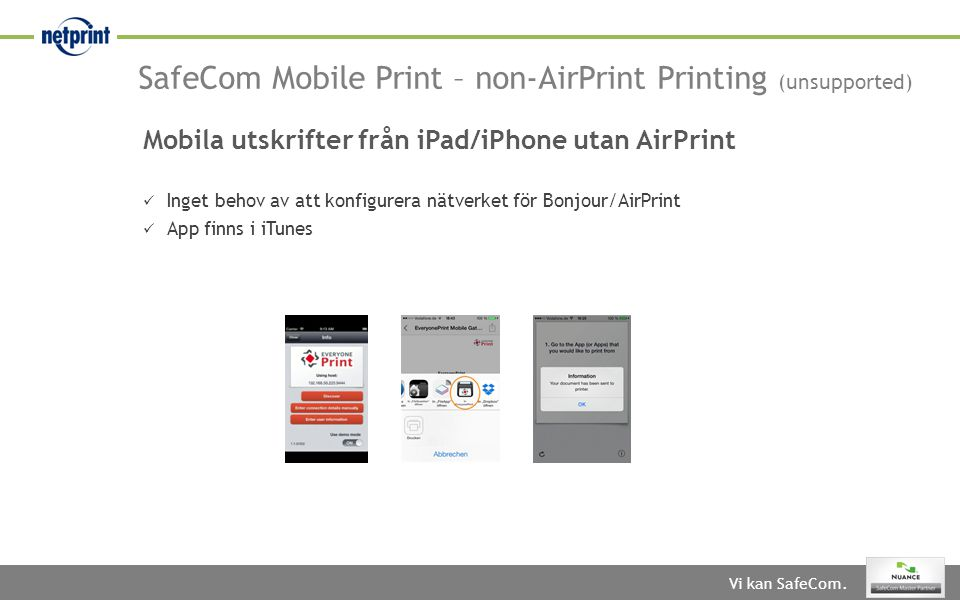 SafeCom Mobile Print – non-AirPrint Printing (unsupported)