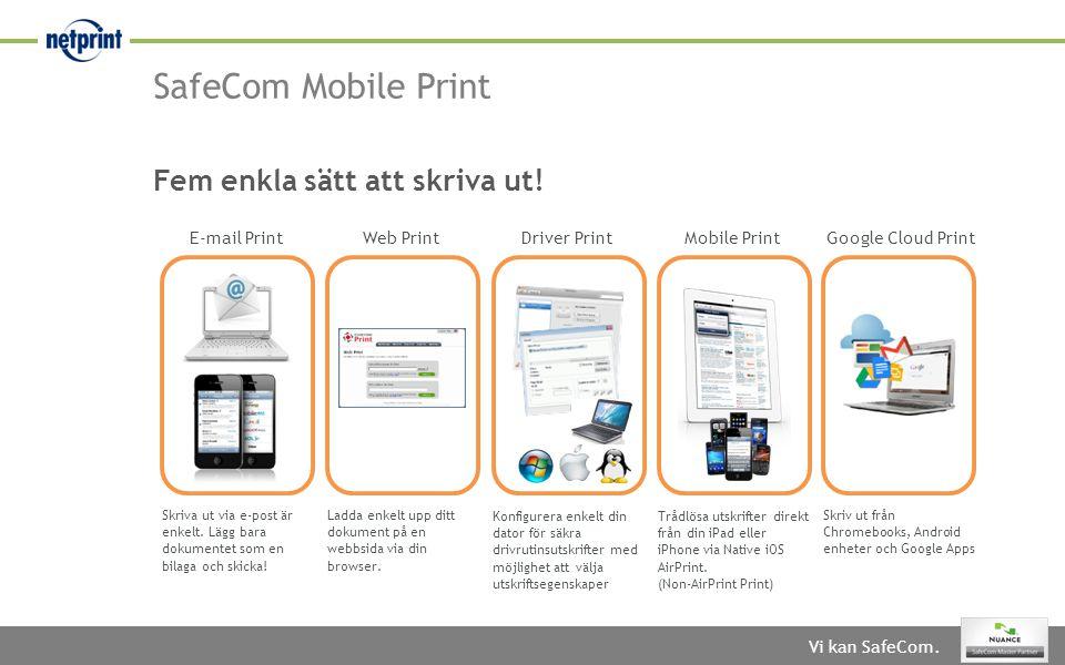 SafeCom Mobile Print Fem enkla sätt att skriva ut! E-mail Print