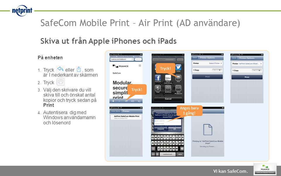 SafeCom Mobile Print – Air Print (AD användare)