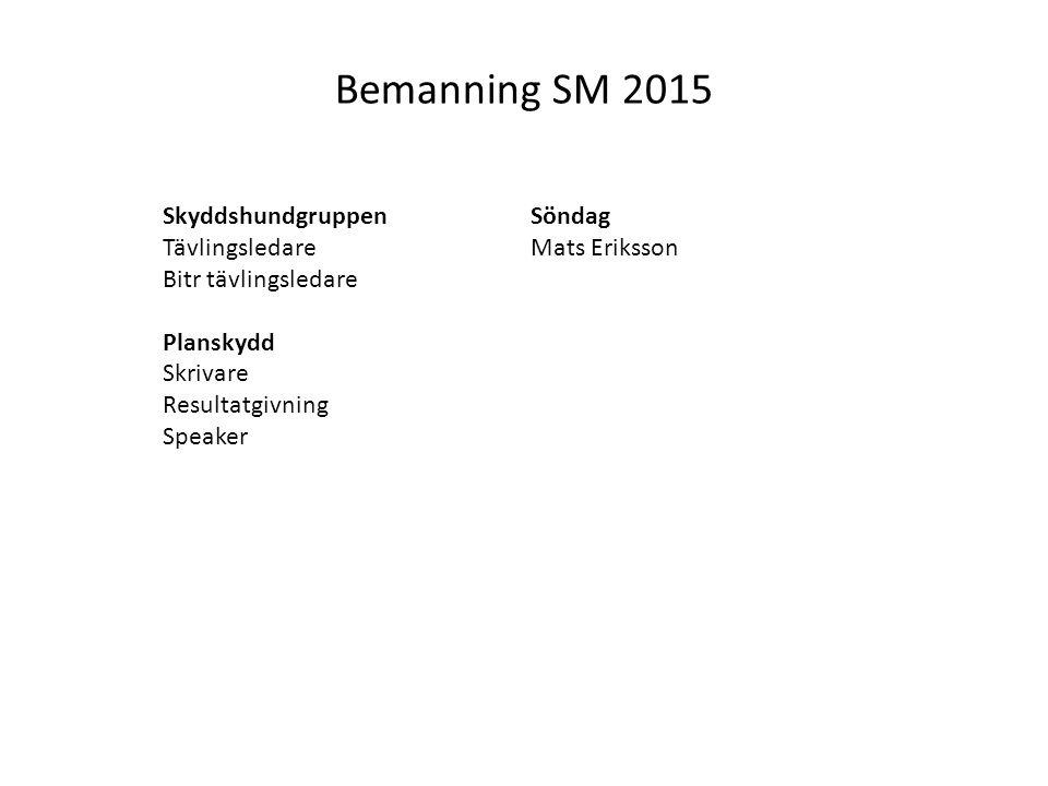 Bemanning SM 2015 Skyddshundgruppen Tävlingsledare Bitr tävlingsledare