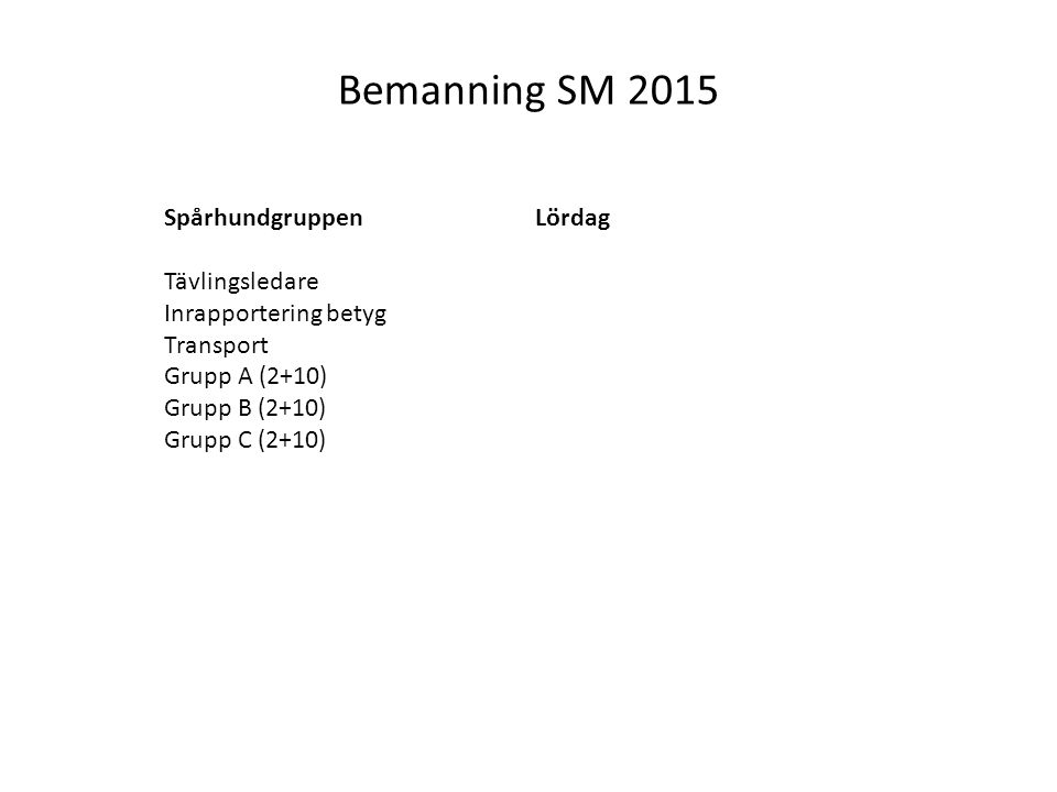 Bemanning SM 2015 Spårhundgruppen Tävlingsledare Inrapportering betyg