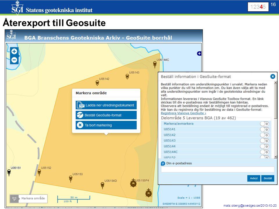Återexport till Geosuite