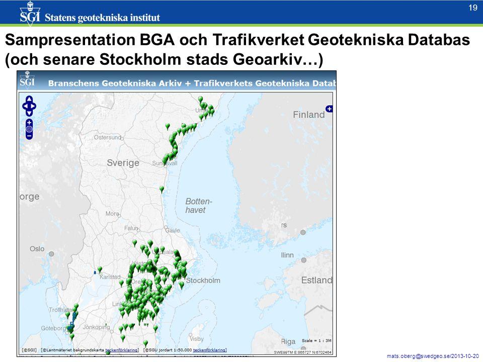 Sampresentation BGA och Trafikverket Geotekniska Databas (och senare Stockholm stads Geoarkiv…)