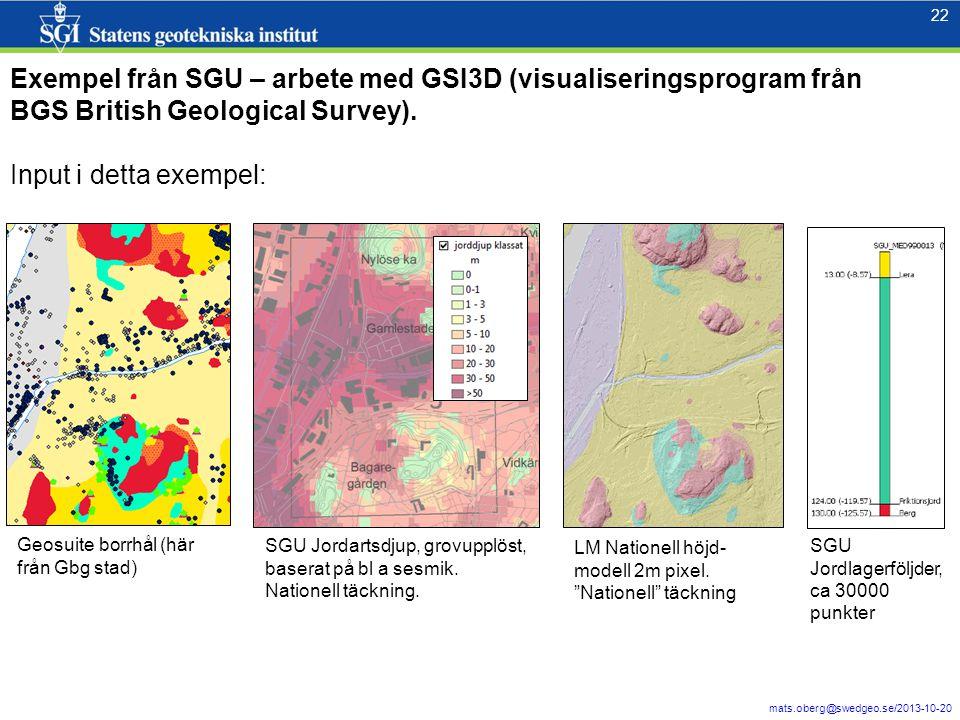 Exempel från SGU – arbete med GSI3D (visualiseringsprogram från BGS British Geological Survey).