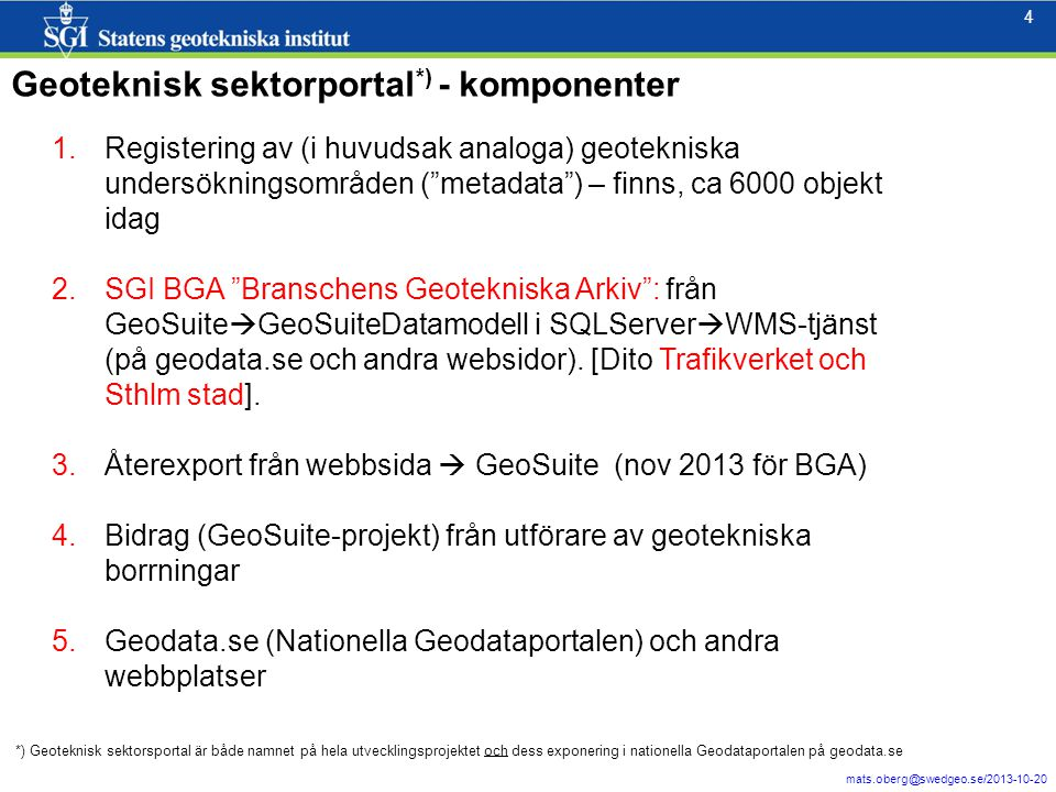 Geoteknisk sektorportal*) - komponenter