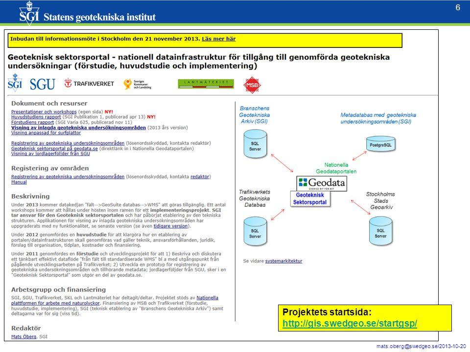Projektets startsida: http://gis.swedgeo.se/startgsp/