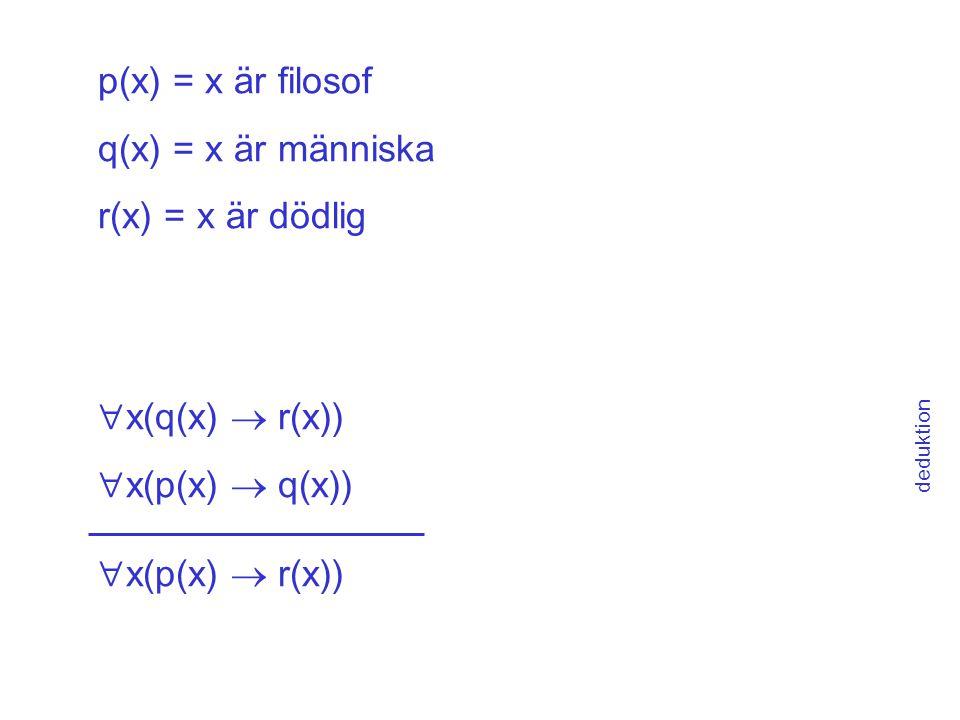 p(x) = x är filosof q(x) = x är människa r(x) = x är dödlig