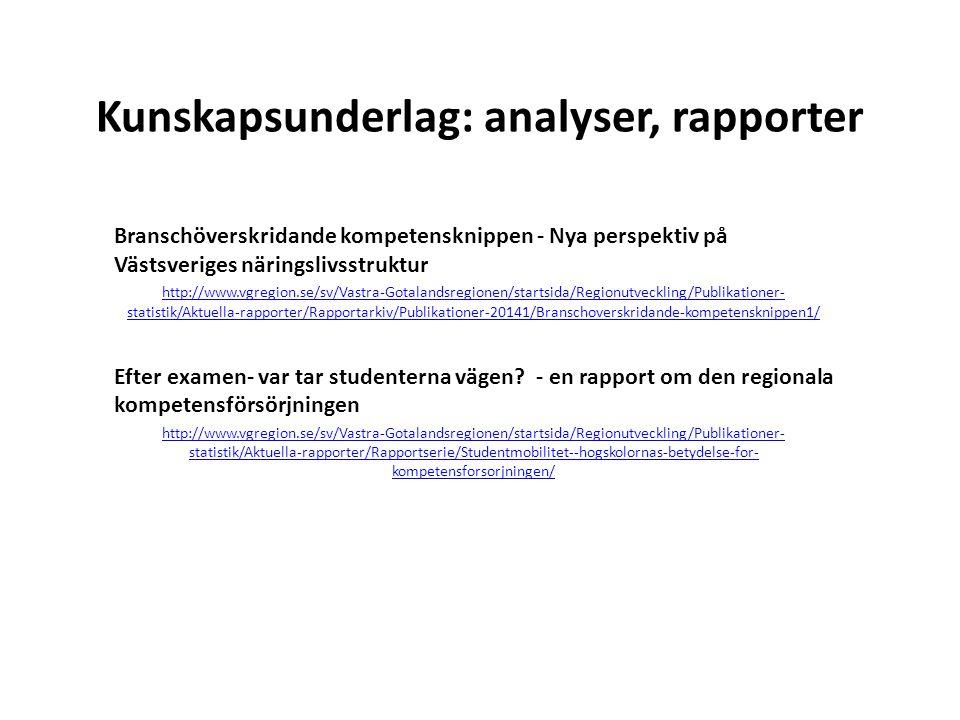 Kunskapsunderlag: analyser, rapporter