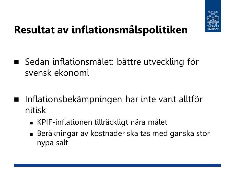 Resultat av inflationsmålspolitiken