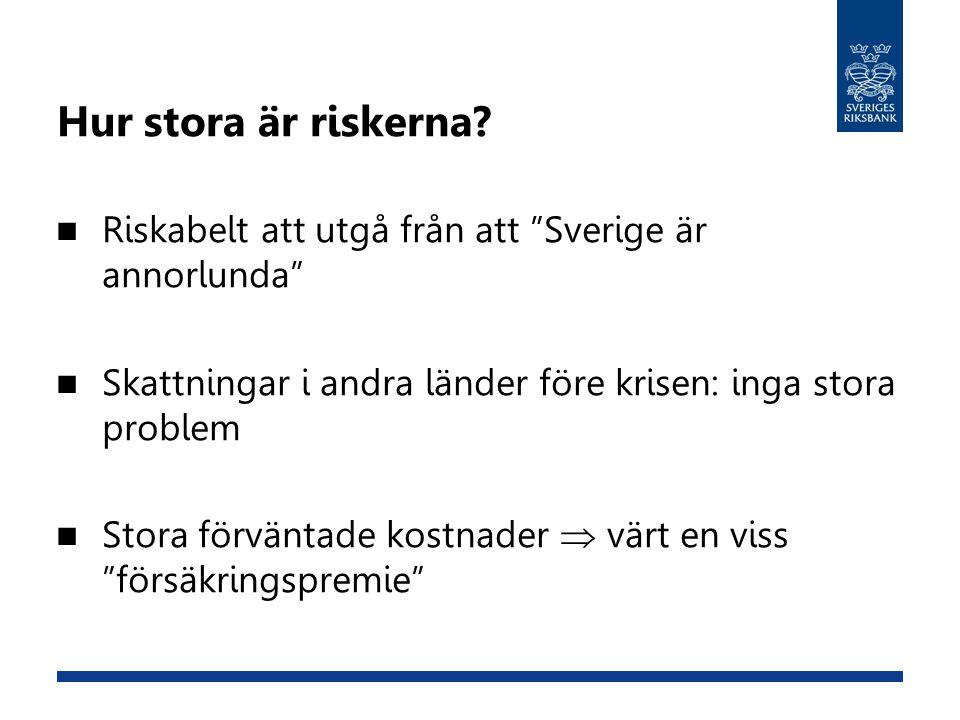 Hur stora är riskerna Riskabelt att utgå från att Sverige är annorlunda Skattningar i andra länder före krisen: inga stora problem.