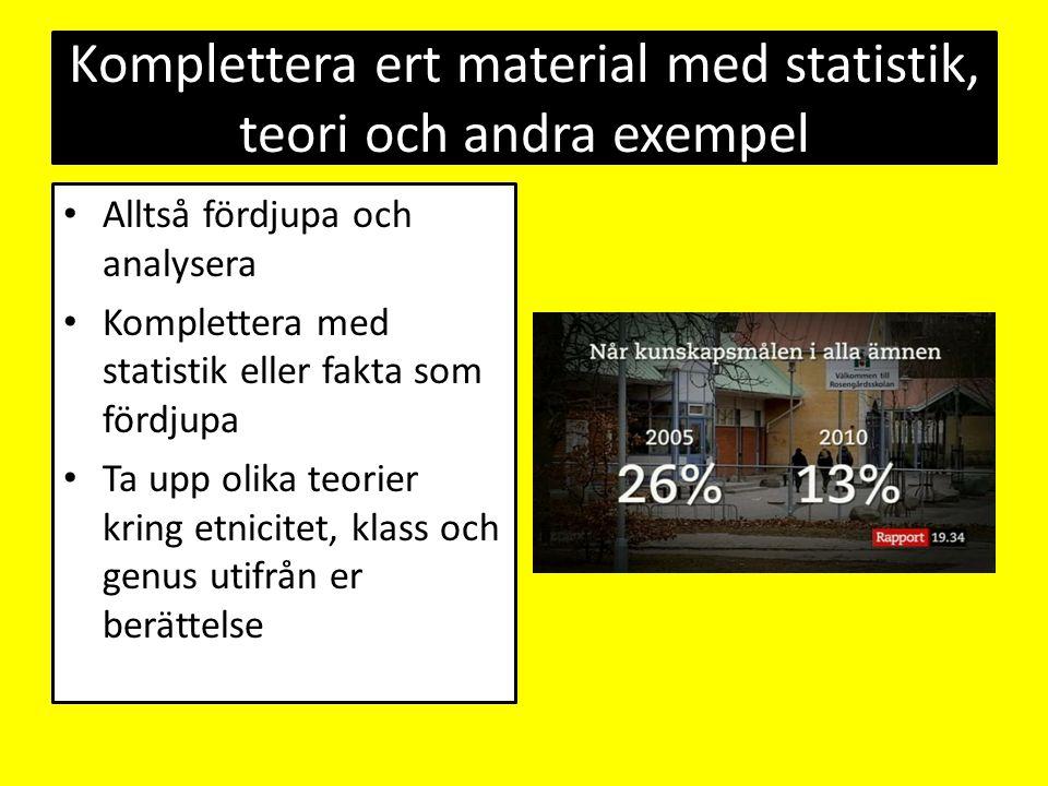 Komplettera ert material med statistik, teori och andra exempel