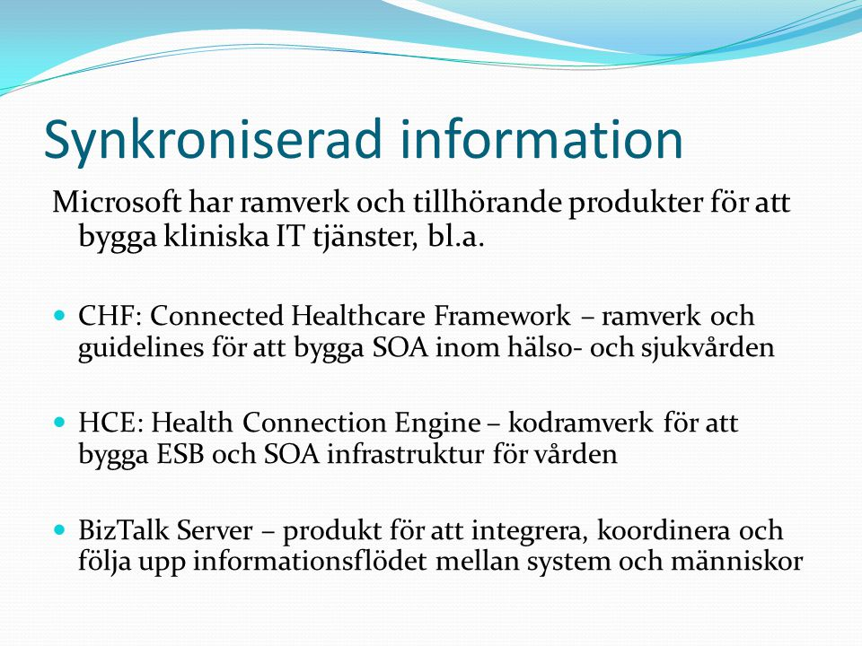 Synkroniserad information