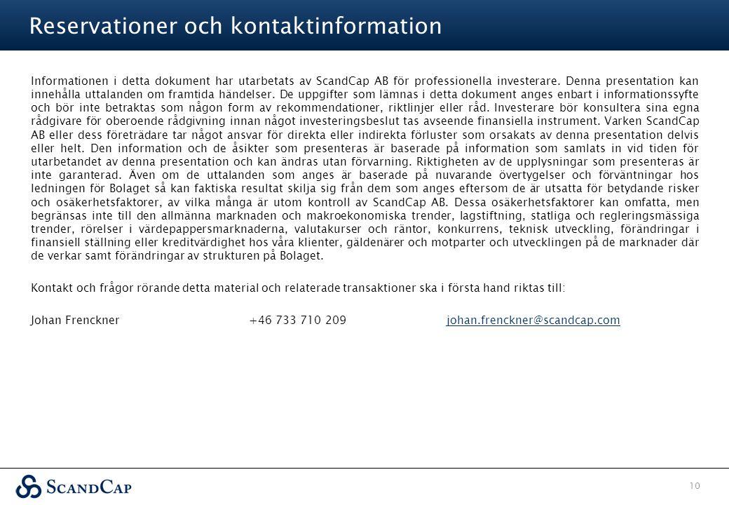 Reservationer och kontaktinformation
