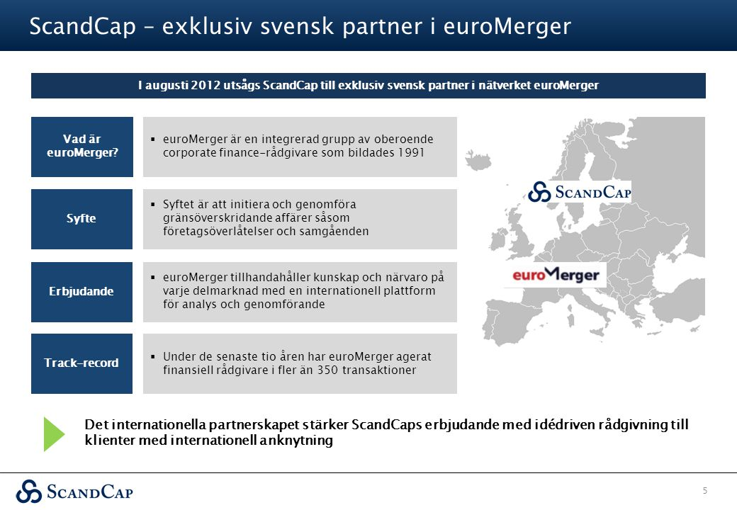 ScandCap – exklusiv svensk partner i euroMerger