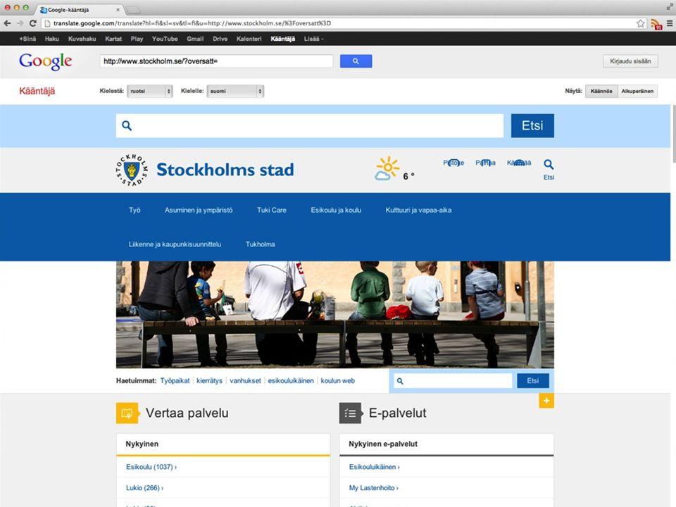 En fördel är att CSS:en går sönder vilket gör att det är lite lättare att förstå att detta inte är stockholms stads version.