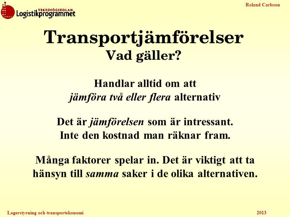Transportjämförelser Vad gäller