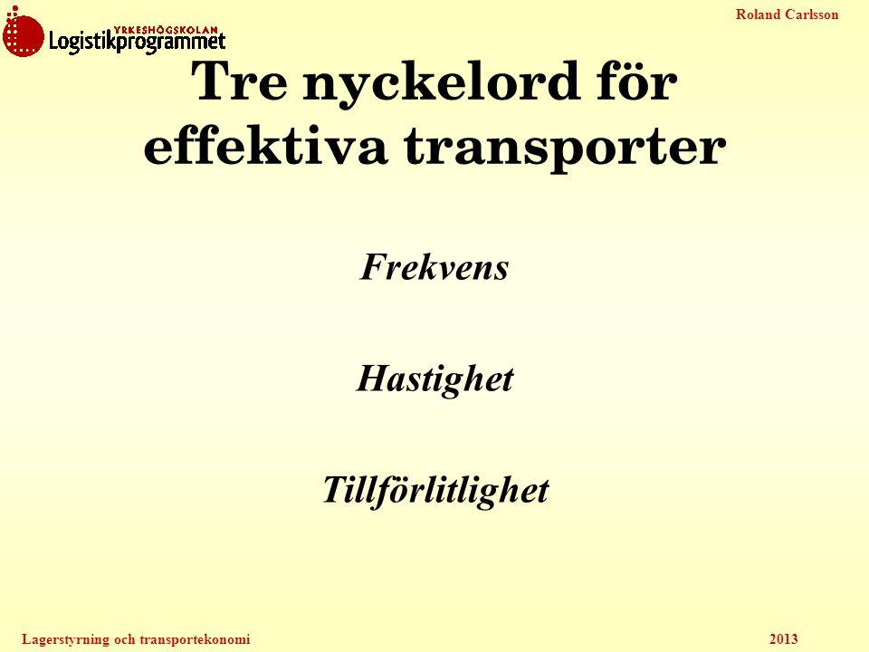 Tre nyckelord för effektiva transporter