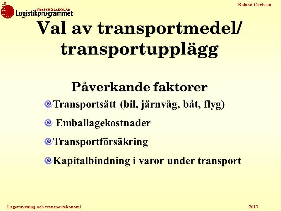 Val av transportmedel/ transportupplägg Påverkande faktorer