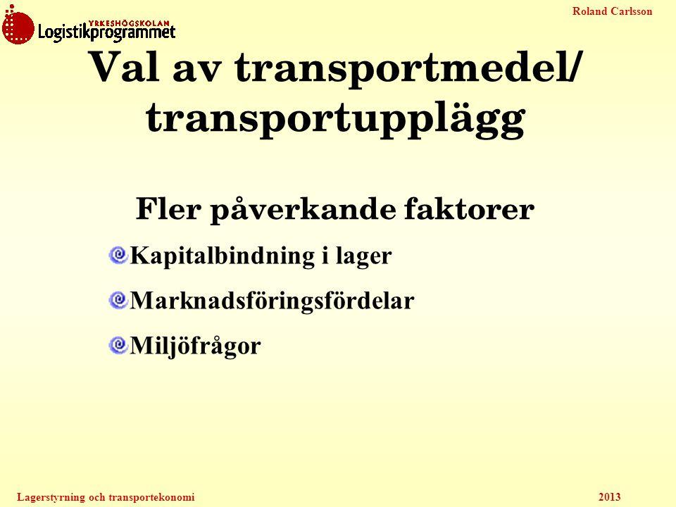 Val av transportmedel/ transportupplägg Fler påverkande faktorer