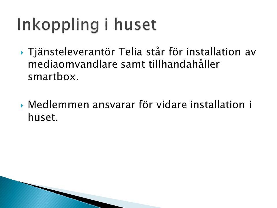 Inkoppling i huset Tjänsteleverantör Telia står för installation av mediaomvandlare samt tillhandahåller smartbox.