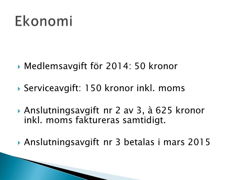 Ekonomi Medlemsavgift för 2014: 50 kronor