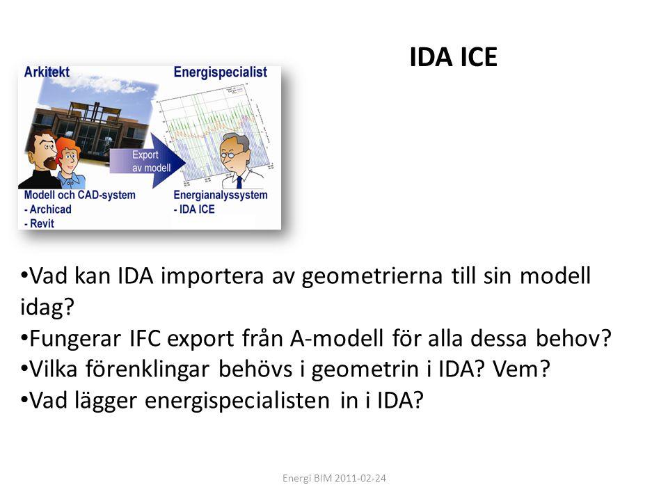 IDA ICE Vad kan IDA importera av geometrierna till sin modell idag