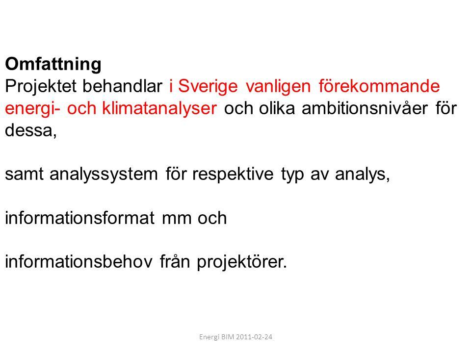 informationsformat mm och informationsbehov från projektörer.